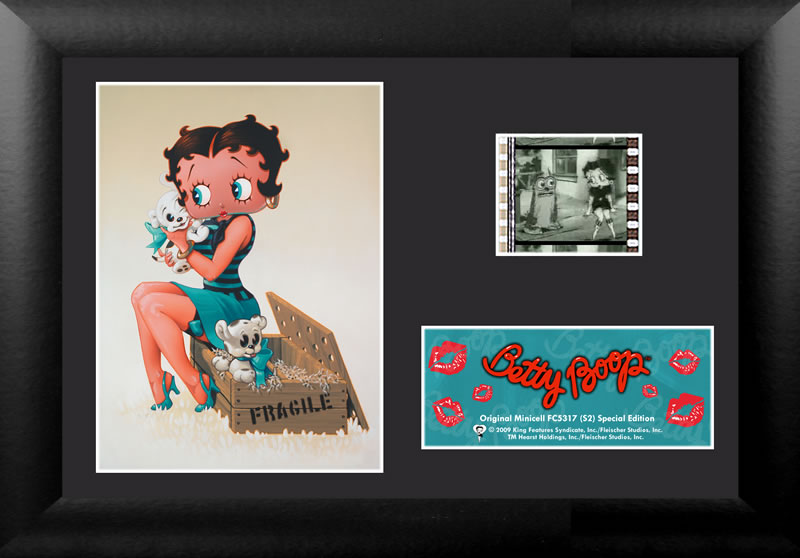 Betty snuggles some sweet spotted puppies. Did you know that Betty started out as an anthropomorphic poodle?     This highly collectible work of art features a vivid image of Betty with a lipstick kissed name card and a real piece of 35mm film.
