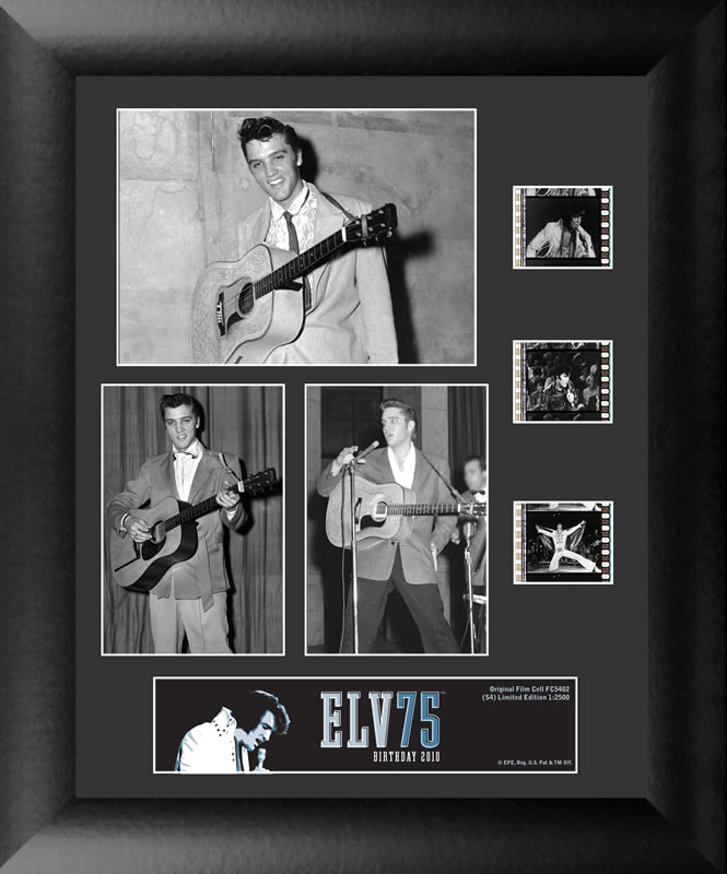 Celebrate the 75th anniversary of the King of Rock n' Roll with this FilmCells™ presentation. This special edition collectible features three officially licensed images of Elvis, a certificate of authenticity, and three clips of real 35mm film