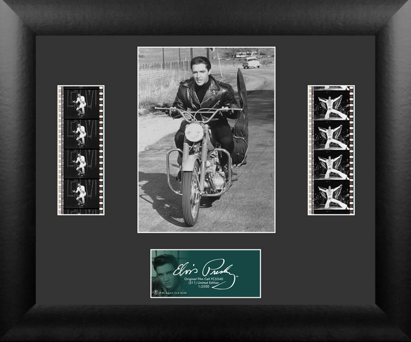 Bring the King of Rock n' Roll into your home with this FilmCells™ presentation. This special edition collectible features ab officially licensed image of Elvis, a certificate of authenticity, and two strips of real 35mm film from his performances.