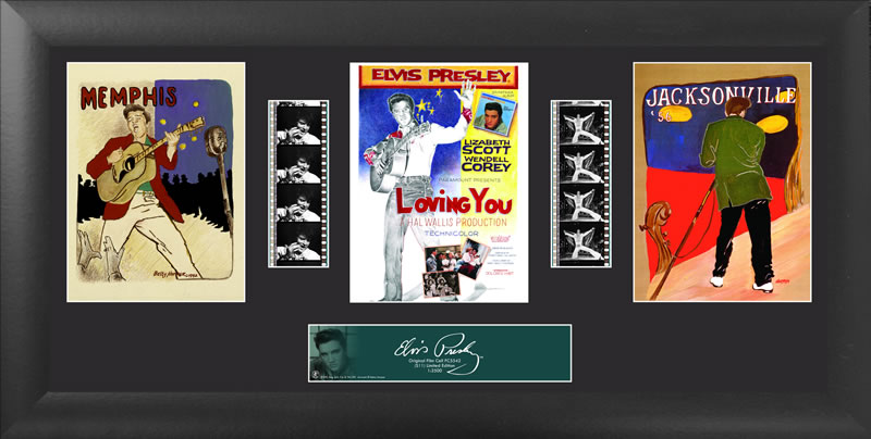 Bring the King of Rock n' Roll into your home with this FilmCells™ presentation. This special edition collectible features three officially licensed images of Elvis, a certificate of authenticity, and two strips of real 35mm film from his performances.