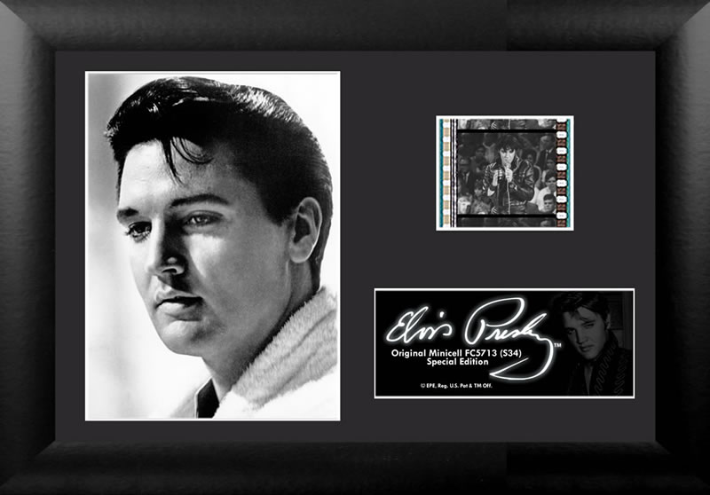 Bring the King of Rock n' Roll to your collection with this FilmCells™ Minicell presentation. This special edition collectible features an officially licensed image of Elvis, a certificate of authenticity, and one clip of real 35mm film from a performance