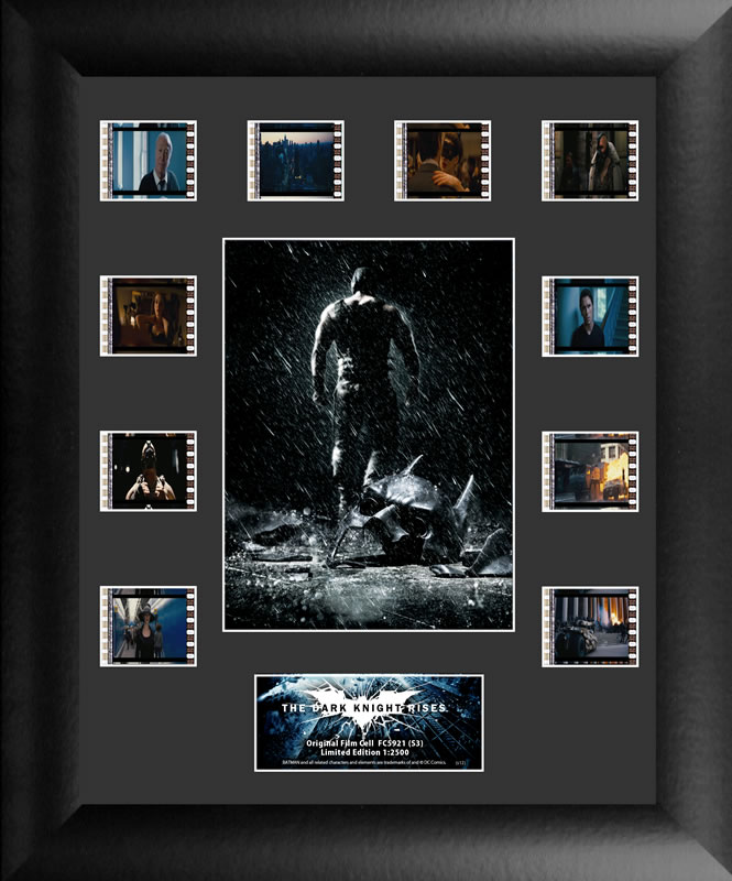 Relive the storm set upon Gotham in The Dark Knight Rises. This collectible features an image of a victorious Bane™, a certificate of authenticity, and 10 clips of real 35mm film from the movie.