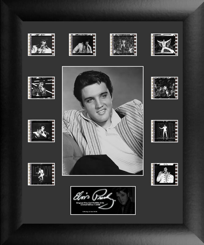 Bring the King of Rock n' Roll into your home with this FilmCells™ presentation. This special edition collectible features an officially licensed image of Elvis, a certificate of authenticity, and 10 clips of real 35mm film from his performances.