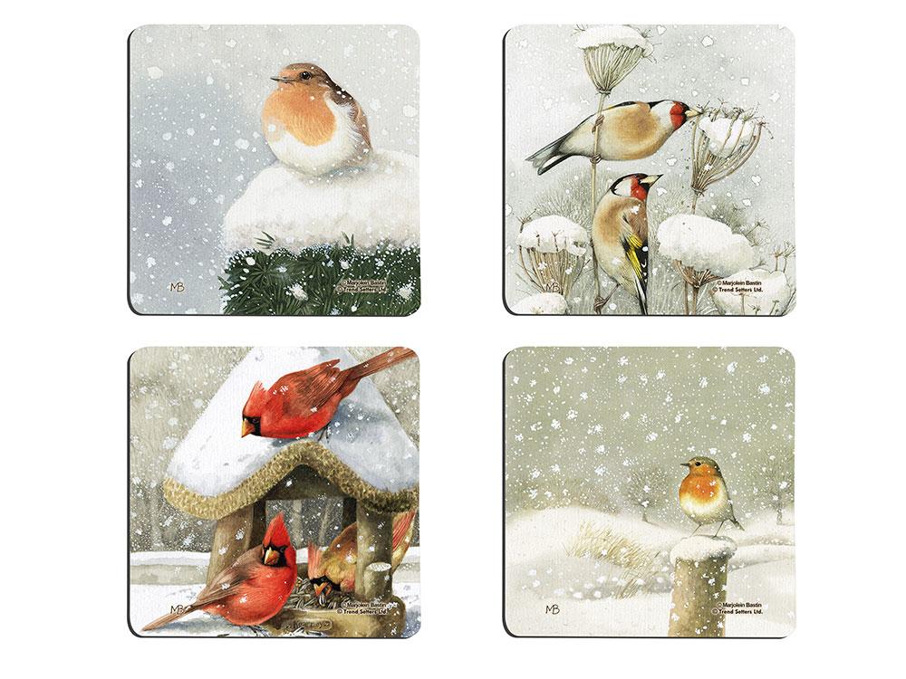 Marjolein Bastin Winter Birds Hardboard Coaster Set