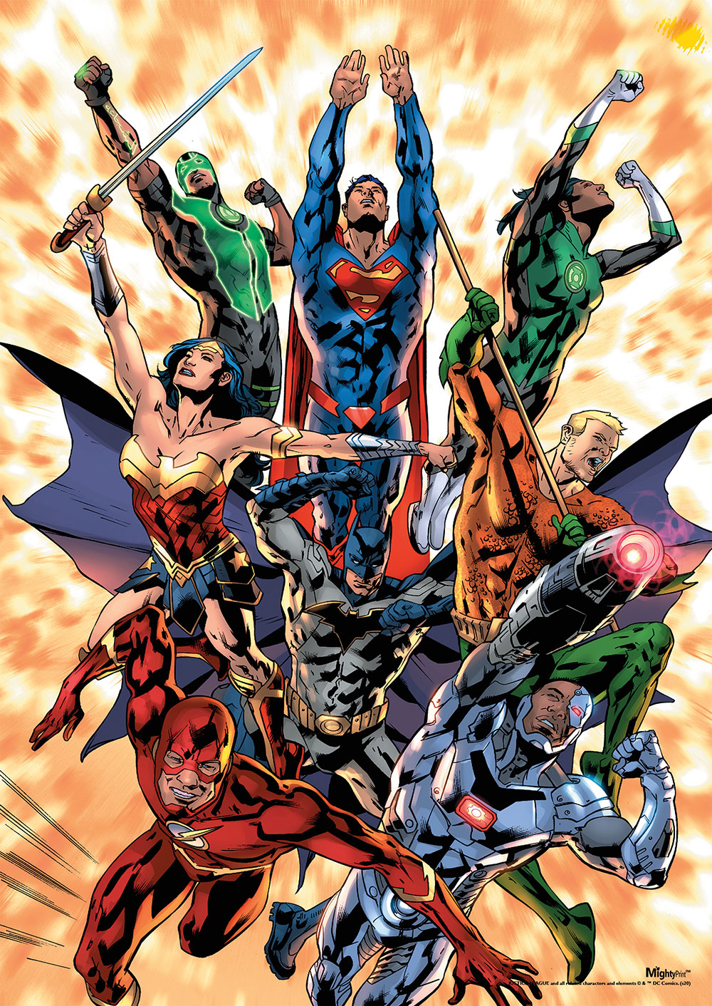 Justice League Explosion Mightyprint Wall Art Mp17240598