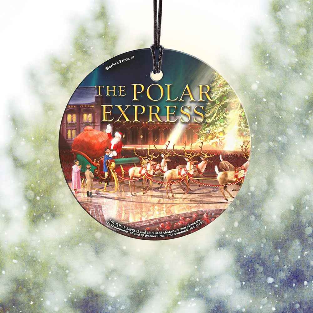 The Polar Express Sleigh Starfire Prints Hanging Glass Spcir497