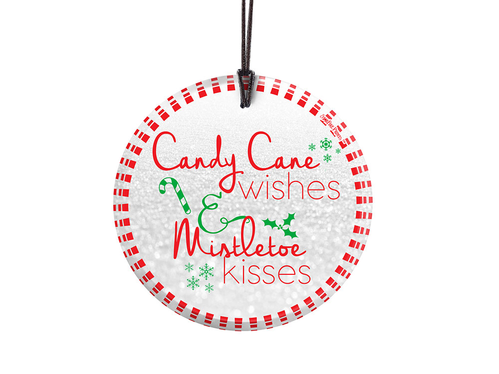 Christmas Candy Cane Wishes And Mistletoe Kisses Starfire Prints Hanging Glass Spcir761