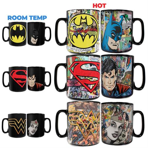 Three of your favorite Justice League members are here in this set of three 16 oz Morphing Mugs Heat Sensitive Mugs! At room temperature, these three mugs appears to simple feature the faces of Wonder Woman, Batman and Superman along with their logos.