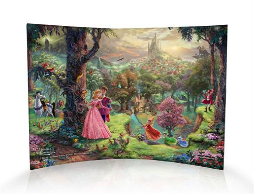 This masterpiece by Thomas Kinkade is as timeless as Disney's classic Sleeping Beauty. This curved acrylic print shows Princess Aurora twirling around the forest with Prince Phillip, the princess's three fair godmothers and the kingdom off in the distance