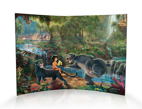 """The bare necessities of life will come to you!"" The Jungle Book is a timeless masterpiece and Thomas Kinkade brings it to life on this curved acrylic print. Sweet Mowgli shares a banana with Baloo as he balances on Bagheera's back deep within the jungle."