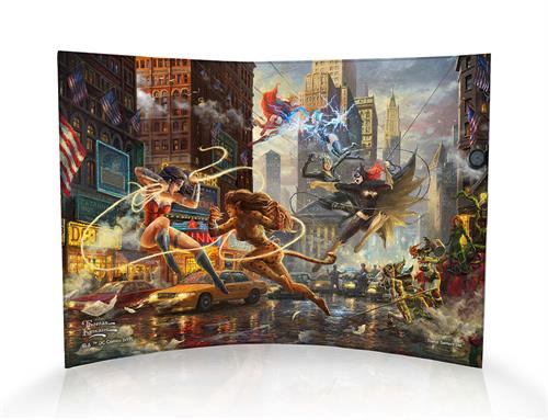 The Women of DC take center stage in this beautiful artwork by Thomas Kinkade Studios. Wonder Woman takes on Cheetah, while Batwoman takes on Catwoman and Supergirl takes on Livewire. However, other DC women sit on the sidelines, and even more are teased