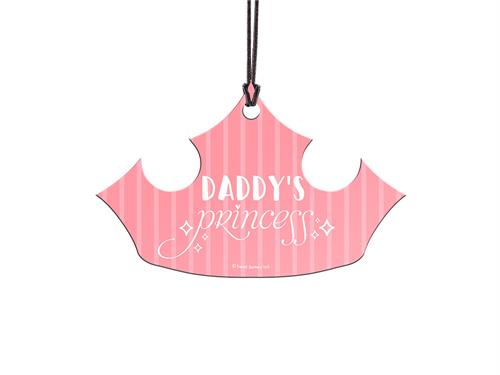 "Gift her this hanging acrylic accessory so she can show off her title of ""Daddy's Princess."" Cut into a crown shape, this beautiful pink decoration looks stunning year-round."