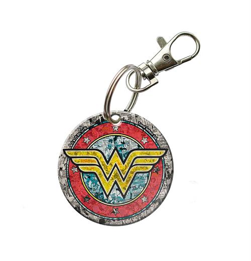 "Show your fandom for Wonder Woman with this circular acrylic keychain. Small images of past comics on the keychain will delight all series fans as they carry the iconic ""W"" with them."