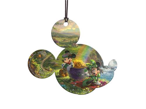 Mickey and Minnie Mouse have the Luck of the Irish in this mouse-shaped hanging acrylic print. Featuring Disney artwork from Thomas Kinkade Studios, they stand next to a pot of gold with a beautiful country landscape in the background.
