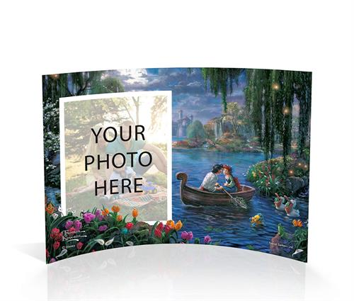 """Ya gotta kiss the girl!""  We've captured a romantic moment between Eric and Ariel in this curved acrylic scene from Disney's classic animated musical, The Little Mermaid II. Flounder, the pelicans, and fishes look on in anticipation, rooting for Eric"