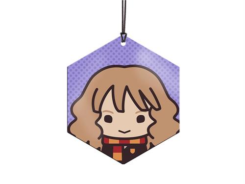 This vivid metal hexagon-shaped decoration features Hermione Granger in her Gryffindor scarf and determined expression in a cute chibi style. On the backside is, well, her backside!