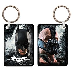 Batman and Bane from The Dark Knight Rises adorn this collectible keychain. Our metal keychains are glossy and sleek. The images are fused into the metal for a unique, lasting quality that is perfect for your bags and keys.