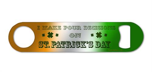 "This 7"" x 1.5"" metal bar blade features a gradient orange to green background with the phrase ""I make pour decisions on St. Patrick's Day"", which is the perfect accessory to bring with you to all festivities featuring the annual green beer."