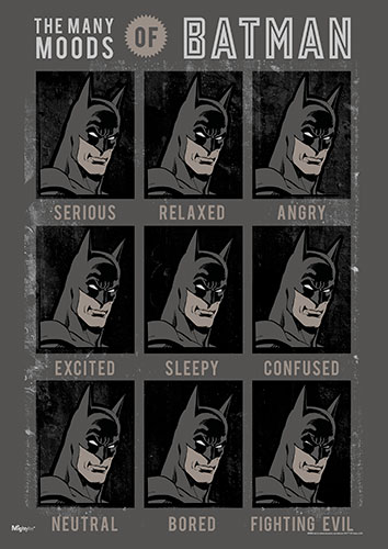 Hang this MightyPrint™ Wall Art in your home and when Batman shows up, you'll be able to refer to the chart and know what kind of mood he's in.