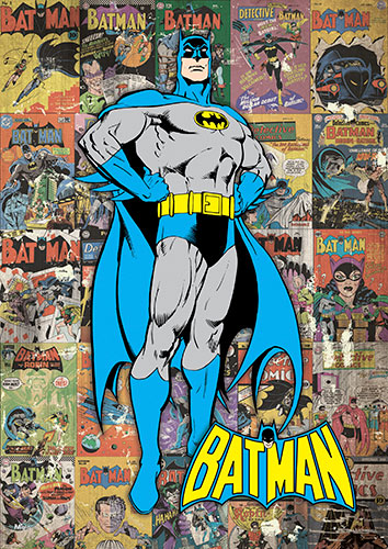 Batman. Bruce Wayne. The Caped Crusader. In classic blue and gold, he stands in front of some of his most iconic comic book covers. Like the Dark Knight, this MightyPrint™ Wall Art is super tough. It's bend, tear, and fade-resistant
