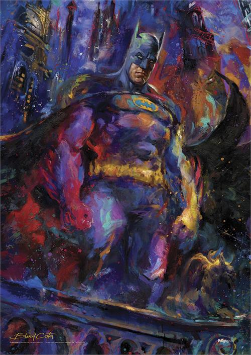 The Dark Knight comes to life in this unique artwork by Blend Cota. Made up of a variety of colors instead of the standard black, Batman pops off the MightyPrint™ as he stands ready to defend Gotham City. This is perfect for any collector's wall.