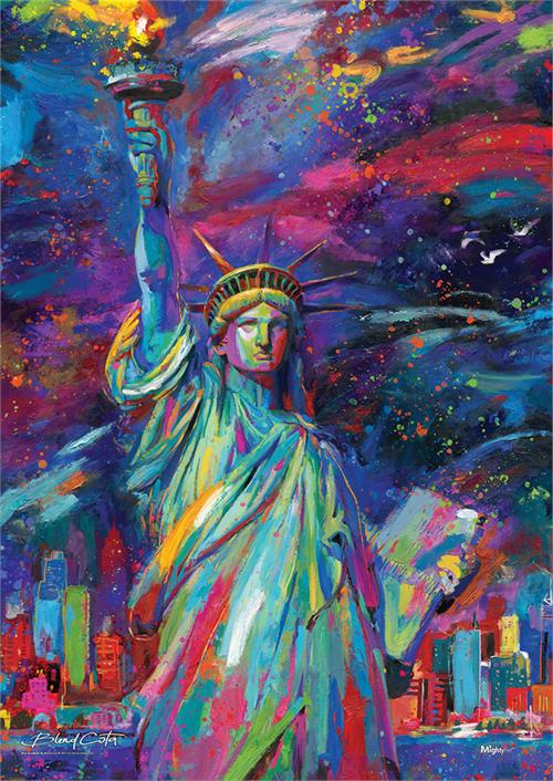 "Blend Cota Lady Liberty to life on this 17"" x 24"" MightyPrint Wall Art! Cota is known for his use of bright colors to create distinctive art that certainly stands out. Using his iconic vivid hues to bring light to the famous landmark"