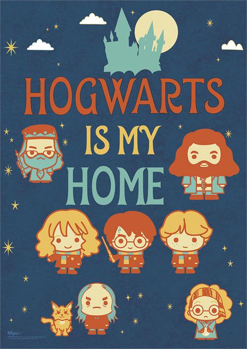 No matter where you go, you'll always know that Hogwarts is your Home! This MightyPrint™ Wall Art features Chibi forms of Harry, Ron, Hermione and more, with a silhouette of Hogwarts Castle at the top. Perfect for your young witch or wizard's room.