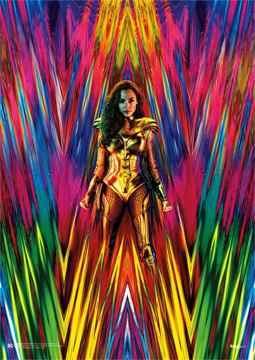 "Wonder Woman is surrounded by the full neon effect of the 1980s in this MightyPrint Wall Art. Diana stands battle-ready while a variety of pinks, greens, blues, yellows and more form a ""W"" in the background. Get ready for Wonder Woman 1984!"