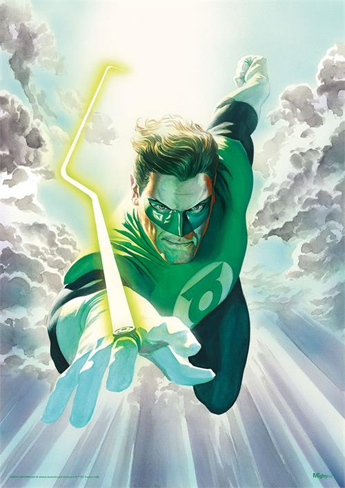 "Hal Jordan flies through the sky as Green Lantern on this comic book art by Alex Ross! This 17"" x 24"" MightyPrint Wall Art features your favorite DC Comics hero shining his power ring in the sky."