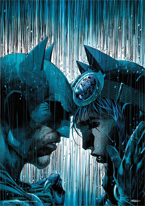"Batman and Catwoman embrace under the pouring rain on Jim Lee and Scott Williams' variant cover of Batman #50. This artistic design shows the iconic couple holding each other and crying in their disguises in the middle of a storm on this 17""x24"" wall art."