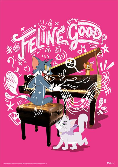 """I'm feline good, like I should!"" Tom serenades this female feline friend, Toodles ""Toots"" Galore, with the help of a piano on this bright pink 17"" x 24"" MightyPrint Wall Art."