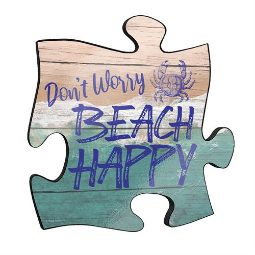 "Don't worry, ""beach"" happy! The punny phrase is front and center on this unique puzzle piece 12"" x 12"" puzzle piece wall art."