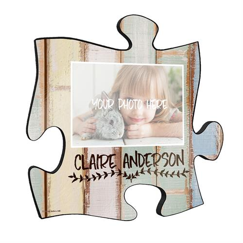 "This 12"" x 12"" puzzle piece wall décor is perfect for gifting, baby showers and more! Personalize the wall art with a photo and name."