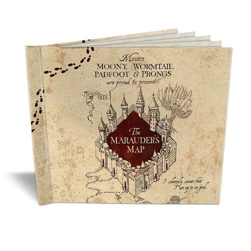 "I solemnly swear I am up to no good. This Harry Potter sketchbook features the notorious Maurader's Map. Open your sketchbook and find 5 sheets of blank parchment paper you can doodle on as you please to keep your ""Mischief Managed""."
