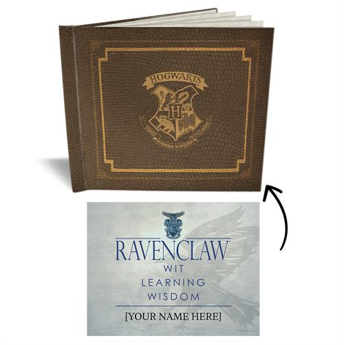 This sketchbook features the Hogwarts crest, making it the perfect place to stash your acceptance letter, journal entries and doodles. Open your sketchbook and find 5 sheets of blank parchment paper along with your gift from the Sorting Hat itself – a per