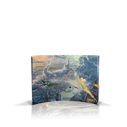 Bring the magic of Disney's Peter Pan into your home with this StarFire Prints curved glass. This collectible features Thomas Kinkade's panoramic painting, Tinker Bell and Peter Pan Fly to Neverland, done in the artist's instantly recognizable style