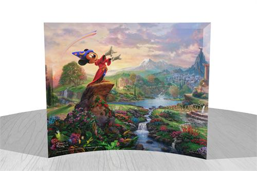Bring the magic of Disney's Fantasia into your home with this StarFire Prints curved glass. This collectible features Thomas Kinkade Studios' panoramic painting, Fantasia, done in the artist's instantly recognizable, luminous style.