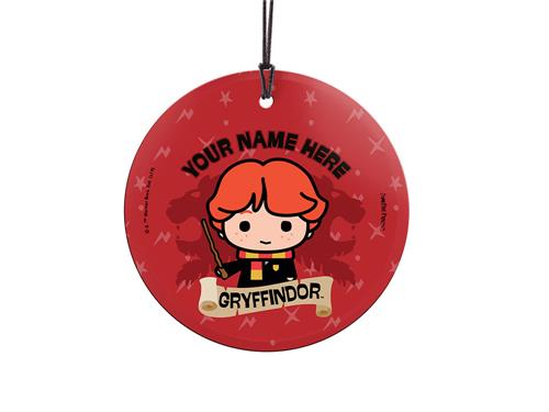 Ron Weasley is proud to be a Gryffindor, are you? Show off your Hogwarts House pride with this hanging glass decoration. Personalize with your name above an image of Ron.