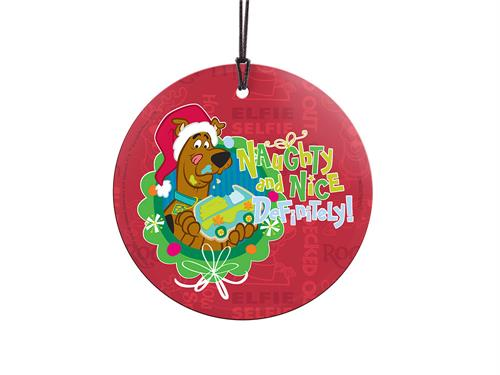 Are you naughty or nice this year? With this hanging decoration, why not be both? Scooby takes a bite out of a Mystery Machine cookie while holiday sayings and Scooby in reindeer antlers are in the background. Comes with hanging string for easy display.