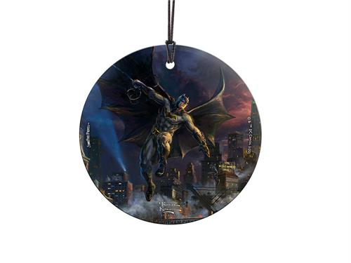 "Batman is swinging into action on this hanging glass decoration. Designed with original artwork by Thomas Kinkade, the Dark Knight is seen on this 3.5"" accessory joining the rest of the Justice League members"