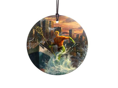 "Aquaman is springing into action on this hanging glass decoration. Designed with original artwork by Thomas Kinkade, Arthur Curry and his trident is seen on this 3.5"" accessory joining the rest of the Justice League members"
