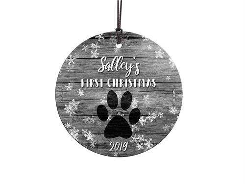 You have a new four-legged friend in your life this year. Show off your first Christmas with your dog with a personalized hanging glass ornament. Customize with their name and year to remember the first time you had them forever. Comes with hanging string