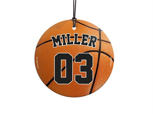"This 3.5"" hanging glass ornament is the perfect gift for basketball fans and players alike! Featuring a design of a basketball, personalize this glass decoration with your favorite player's name and number."