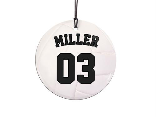 "This 3.5"" glass ornament is great for volleyball players and fans alike. The next volleyball great is on the court. Featuring a design of a volleyball, personalize this glass decoration with your favorite player's name and number."