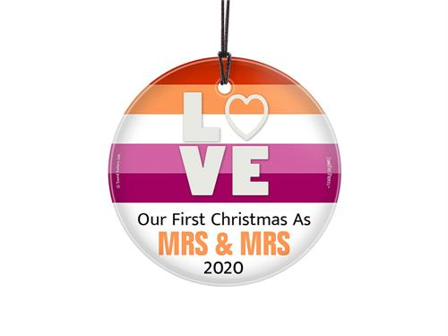 "Featuring a vivid rainbow of colors, ""LOVE"", the phrase ""Our First Christmas As Mrs. and Mrs."" and an area to personalize with your wedding year, this 3.5"" glass ornament is perfect for the newlyweds in your life!"