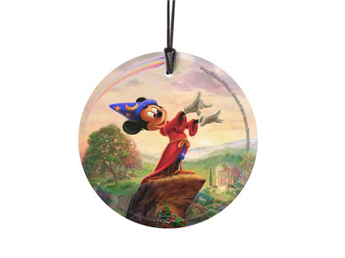 Bring the magic of Disney's Fantasia into your home with this StarFire Prints hanging glass. It features an image from Thomas Kinkade Studios' panoramic painting, Fantasia, done in Kinkade's instantly recognizable, luminous style.
