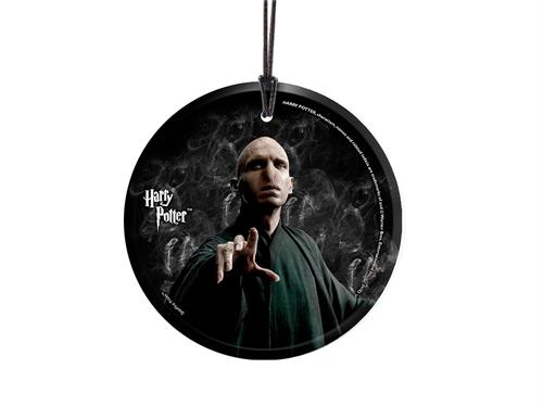 He who must not be named. You know who. Tom Riddle. Voldemort. Whatever you refer to the Dark Lord as, he has never looked more intimidating than on this hanging glass accessory. Harry Potter is likely on the other end of his wand, ready to dual!