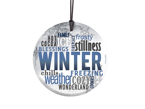 Winter décor doesn't get more wintery than a piece of décor covered in winter-related words! This frosty image features all your favorite things about winter!