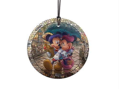 Disney's Mickey and Minnie Mouse enjoy their time in Paris, complete with French bread and roses. This StarFire Prints Hanging Glass decoration featuring artwork by Thomas Kinkade Studios.