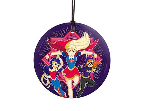 Wonder Woman, Supergirl, and Batgirl  as teenagers from DC Super Hero Girls cartoon on a round hanging glass on string